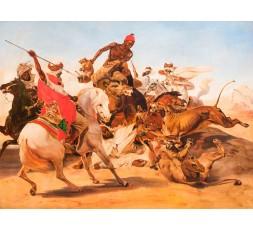 COPIE D'HORACE VERNET,(1789-1863), CHASSE AU LION, Début du XXéme siecle